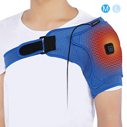 Doact Shoulder Heating Pad,USB Electric Heat Therapy Shoulder Wrap Brace for Rotator Cuff,Frozen Shoulder,AC Joint Pain, Shoulder Dislocation Sprains,Bursitis Muscles Pain Relief,Unisex(M)Father's Day