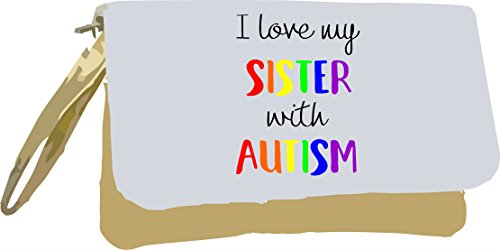Sister Metallic Gold Autism with Bag Awareness Love Gold I Clutch My wgxOEC