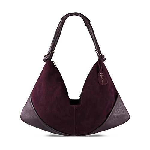 - Nico Louise Suede Leather Hobo Bag Top Handle Women Dumpling Bag Large Handbag (Dark Purple)