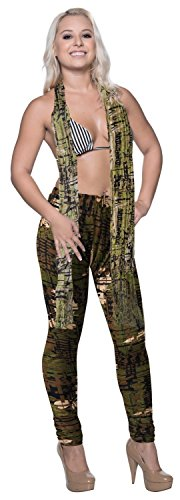 la-leela-cotton-one-size-military-stretchy-women-leggings-tassels-scarf-green