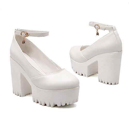 BalaMasa Femme Round-Toe Boucle Plate-Forme Hauteur Talons Hauts en Plastique Solide Pumps-Shoes Blanc, 41.5 EU, APL02021