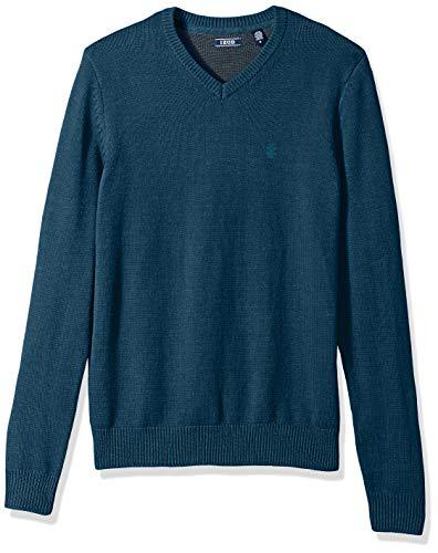 IZOD Men's Premium Essentials Solid V-Neck 7 Gauge Sweater, New Legion Blue, Small