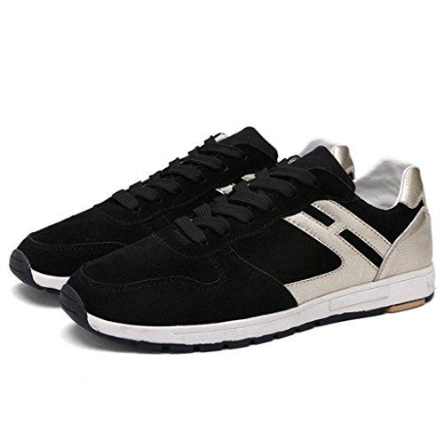 WZG los zapatos del otoño y del invierno al aire libre deportes de los hombres se deslizan los zapatos de los hombres ligeros atan plana Black