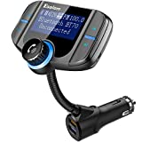 "【Upgraded Version】Bluetooth FM Transmitter, ESOLOM Wireless Car Stereo Radio Adapter Receiver, Hands-free Calling Car Kit with 1.7"" Display, QC3.0 & Smart 2.4A Dual USB Ports, Support TF Card, AUX Inp"
