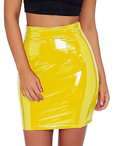 Eliacher Women's Shiny Liquid Metallic Wet Look Flared Bodycon Pencil Skirts Sexy Short PU Skirts (Mustard, S) (Metallic Leather Pencil Skirt)