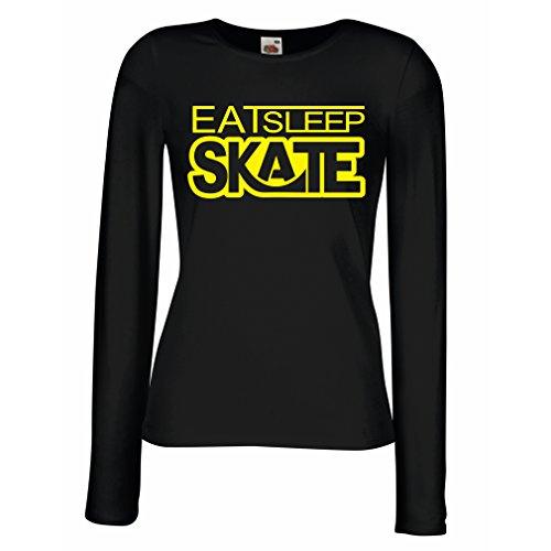 Camisetas de Manga Larga para Mujer Coma - sueño - patín - para los patinadores, skateboardboard, skateboard gifts Negro Amarillo