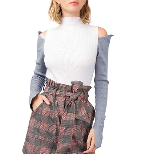 Keliay Bargain Fashion Women Cold Shoulder Long Sleeve Patchwork Strapless Knitted Pullover Top