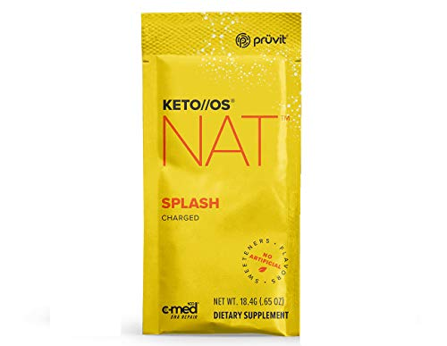 Pruvit Keto//OS NAT Splash Charged, BHB Salts Ketogenic Supplement Ketones for Fat Loss, Workout Energy Boost Through Fast Ketosis (5 Sachets)