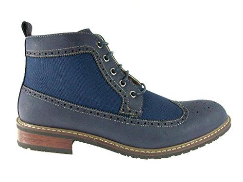 Ferro Aldo Mens 806278A Denim Perforated Brogue Wing Tip Dress Boots Blue cxv9vWoMXr
