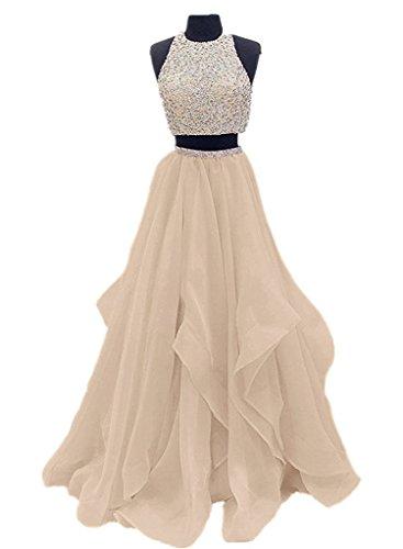 2 SA009 Gown Layer Piece Champagne Beaded Prom Evening Long Organza Ruffles Dress Tv6qxwO1I