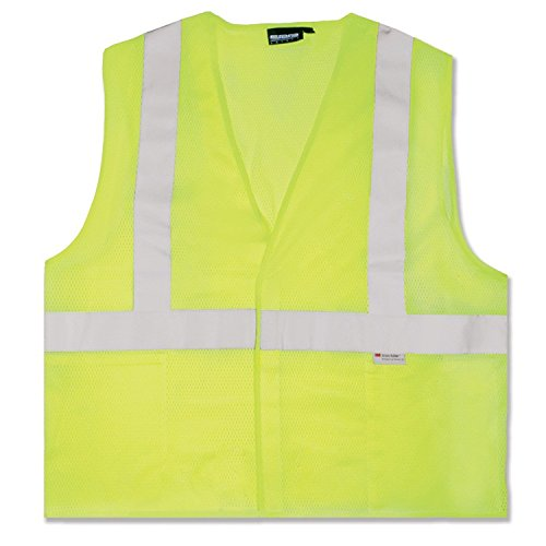 ERB 14517 S15 ANSI Class 2 Mesh Safety Vest with Pockets, Lime, - Woven Vest Fleece