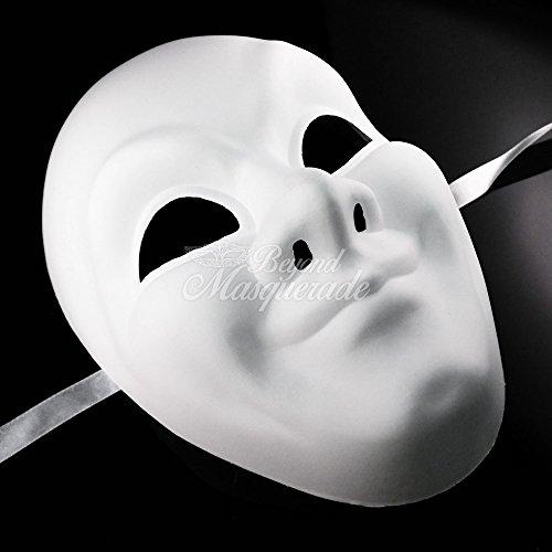 Full Face Unpainted Blank Mask, Mens Masquerade Mask