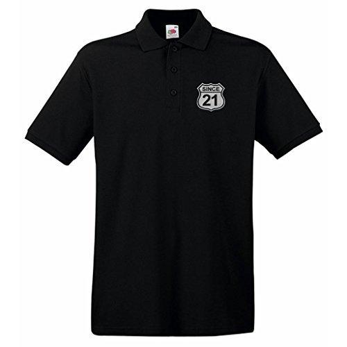 Geburtsjahr US Straßenschild Route 66 Style since 21 Design Besticktes Poloshirt