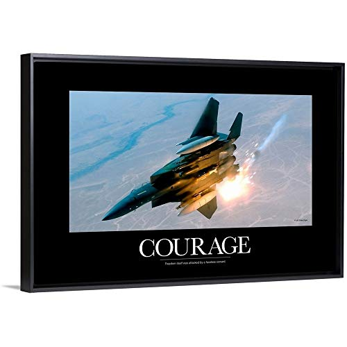 - Kate Lillyson Floating Frame Premium Canvas with Black Frame Wall Art Print Entitled Military Poster: an F-15E Strike Eagle pops Flares During a Combat Sortie 24