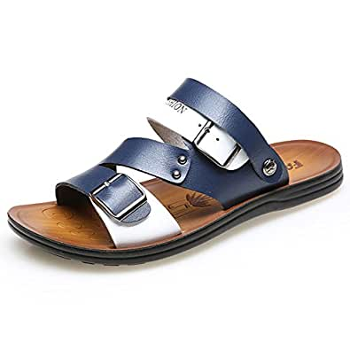 Jtomoo Mens Soft Leather Beach Sandals Breathable Casual Shoes Comfort Slippers  B07BQNSFL7