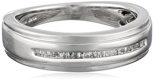 Sterling Silver Diamond Men's Band Ring (1/6 cttw), Size 11