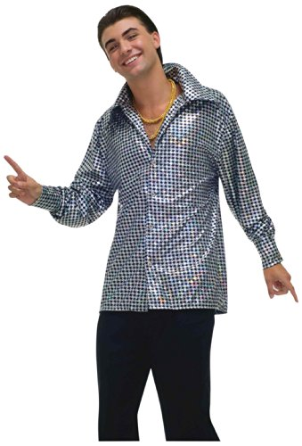 Forum Novelties Men's Plus-Size 70's Disco Fever Hustling Hunk Costume Shirt, Black//White, -