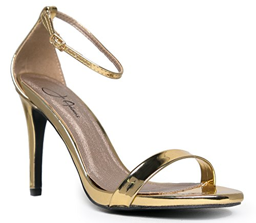 Ankle Strap High Heel - Sleek & Elegant Strappy Sandal - Formal, Dress, Wedding Shoes - High Heel - Classic Comfortable Design,Gold Shiny,8.5 B(M) US