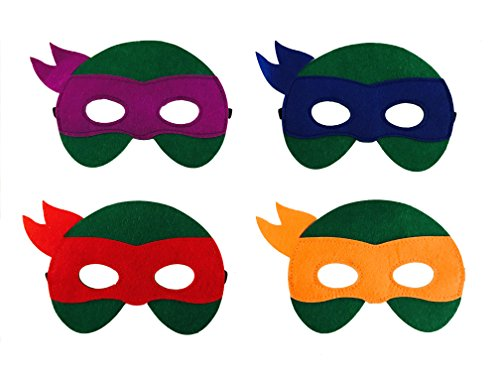 12 Pieces Superheroes Party Character Felt Fun Cosplay Masks Headwear Spiderman Superman Boys and Girls Theme (TMNT) (Ninja Turtle Party Mask)