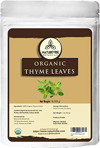 Naturevibe Botanicals Organic Thyme Leaves, 1lbs | Non-GMO and Gluten Free | Helps DIgestion