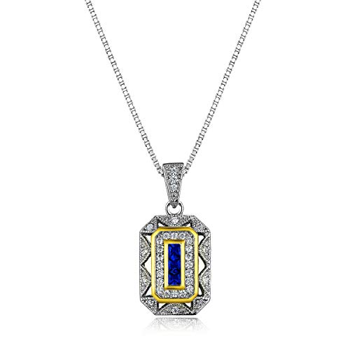 Newshe Women's Created Blue Sapphire White Cz 925 Sterling for sale  Delivered anywhere in Canada