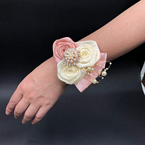 Abbie Home Rhinestone Pearls Wrist Corsage Silk Rose for Wedding Prom Party Hand Flower with Jewelry in Blush Pink and White (Wrist Corsage)