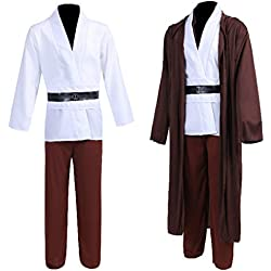 Star Wars Jedi Robe Costume OBI-Wan Kenobi Halloween Knight Hooded Robe Cape Outfit 01XL