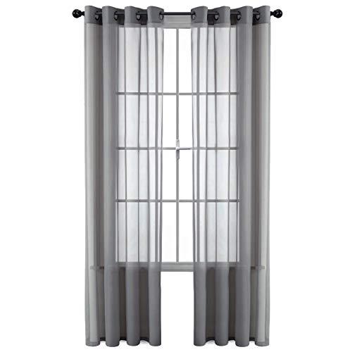 GoodGram 2 Pack Ultra Luxurious High Woven Elegant Sheer Grommet Curtain Panels - Assorted Colors (Grey)