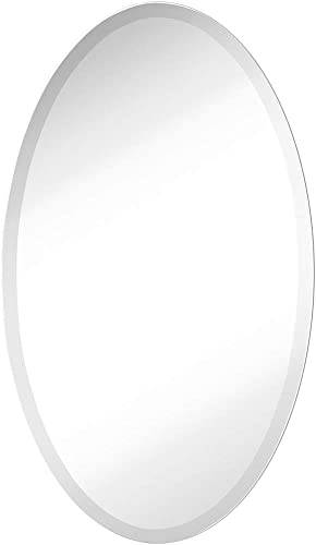 Large Simple Round Streamlined 1 Inch Beveled Oval Wall Mirror