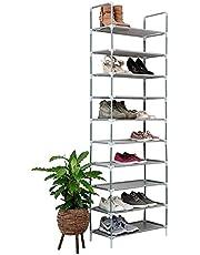 Vivol IVOL Deluxe Schoenenrek voor 20/50 paar schoenen, schoenenkast met 10 niveaus, in hoogte verstelbaar, waterbestendig, kleuren: zwart, grijs, wit