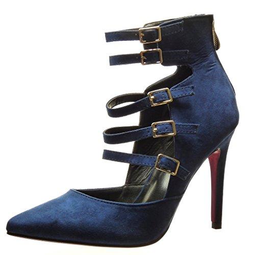 Angkorly - Scarpe da Moda scarpe decollete stiletto sexy donna multi-briglia fibbia metallico Tacco Stiletto tacco alto 10.5 CM - Blu