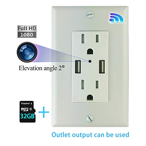 Wall Outlet Hidden WiFi 1080p Secret Spy Camera Can Be Viewed Remotely, Socket is Powered Normally, Including 32GB Memory Card
