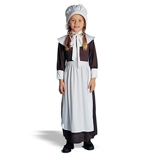 OvedcRay Colonial Girl Costume Child Peasant Pilgrim Pioneer Prairie Kids Costumes Bonnet -