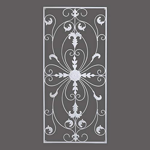 GB HOME COLLECTION gbHome GH-6778W Metal Wall Decor, Decorative Victorian Style Hanging Art, Steel Décor, Rectangular Design, 19.7 x 44 Inches, White