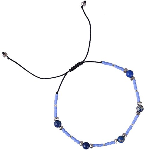 Color Agate Multi Crystal - KELITCH Multicolor Shell Pearl Beaded Friendship Bracelets Hand Woven Wrap Charm Bangle Jewelry (Blue Agate)