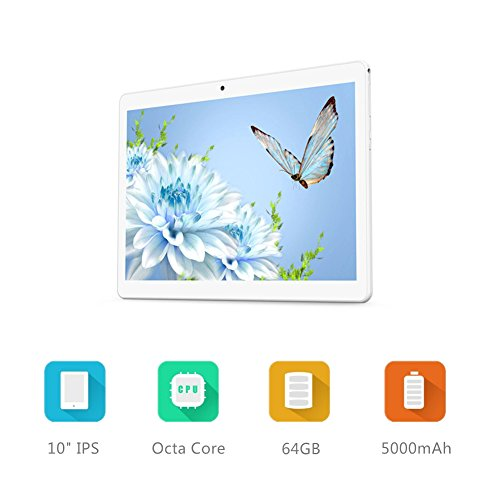 Android Tablet 10 Inch with Sim Card Slots - YELLYOUTH 10.1'' 4GB RAM 64GB ROM Octa Core 3G Unlocked GSM Phone Tablet PC with Wifi Bluetooth GPS - Silver by YELLYOUTH (Image #2)