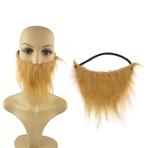 LERORO Funny Fake Beard Mustache Facial Hair Halloween, Christmas Party (Brown, Children & adults)