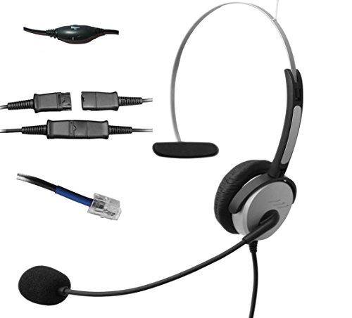 Voistek Corded Call Center Telephone RJ Headset Noise Cancelling Headphone with Microphone and Quick Disconnect for Cisco 7970 9971 Office IP phones and Planronics M10 M12 M22 MX10 Amplifiers (Mono H10PCIS)