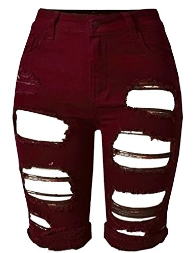 (OLRAIN Womens High Waist Ripped Hole Washed Distressed Short Jeans 14 Wine Red)