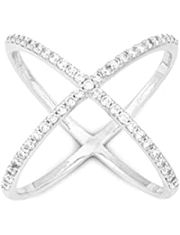 """Sterling Silver Pave CZ """"X"""" Criss Cross Long Ring"""