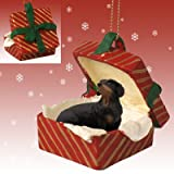 Black Dachshund Red Gift Box Christmas Ornament