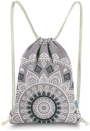 c39c1360f81d Miomao Drawstring Backpack Gym Sack Pack Mandala Style String Bag With  Pocket Canvas Sinch Sack Sport