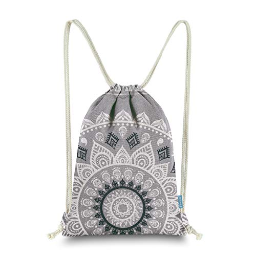 Miomao Drawstring Backpack Gym Sack Pack Mandala Style String Bag With Pocket Canvas Sinch Sack Sport Cinch Pack Christmas Gift Bags Beach Rucksack 13 X 18 Inches Gray ()