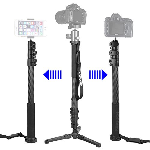 Carbon Fiber Video Monopod Tripod Legs, KINGJOY MP-3208F Professional 65-inch Adjustable Travel Monopod Kit with Removable Support Stand Base for SLR DSLR Camera Camcorder by KingJoy