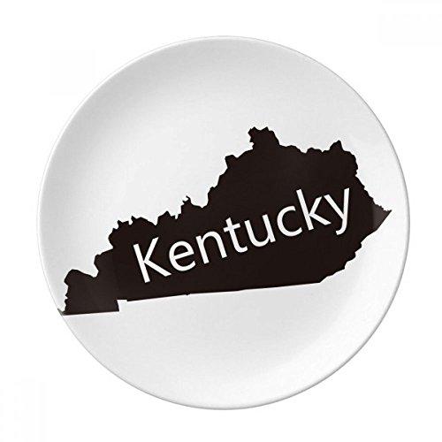 Kentucky America USA Map Silhouette Dessert Plate Decorative Porcelain 8 inch Dinner Home (Silhouette Kentucky)