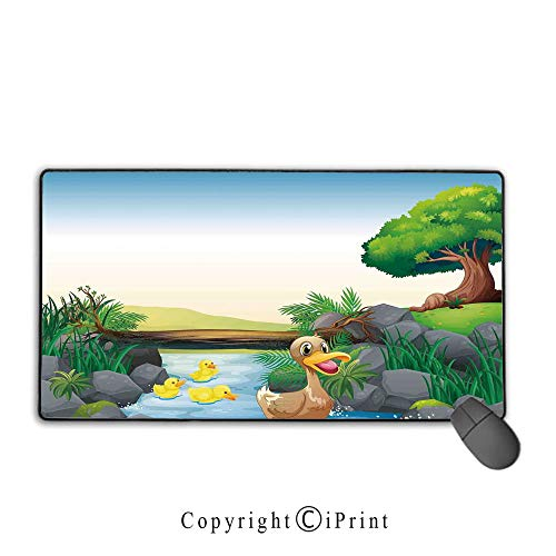 Extended Gaming Mouse pad with Stitched Edges,Duck,Cartoon Mother and Ducklings River Kids Fun Farm Animals Print Outdoor Little Feathers,Multicolor, Suitable for Offices and Homes,15.8