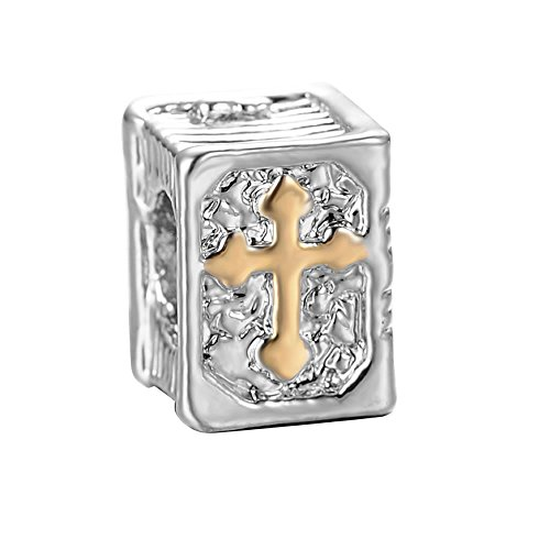 3D Cross Holy Bible book Religious Charm Jewelry Spacer Slide on Bead for Snake Chain Charm Bracelets