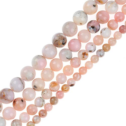 Genuine Natural Real Smooth Round Pink Powder Opal Gemstone Beads Loose Beads for Jewelry Making Approxi 15.5
