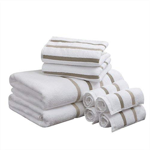 (Comfort Spaces Cotton 8 Piece Bath Towel Set Striped Ultra Soft Hotel Quality Quick Dry Absorbent Bathroom Shower Hand Face Washcloths, Taupe)