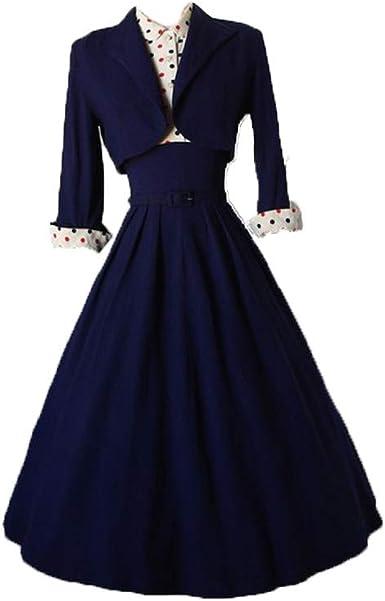 Vintage Dotted Skirt Pleated Skirt Navy Blue Pin Up Skirt